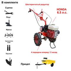 Мотоблок АГАТ (Салют) Х-6,5 с Прицепом и двигателем Honda GP200 6.5 л.с. В комплекте (Плуг, сцепка, окучник, фрезы, удлинители осей)