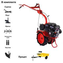 Мотоблок АГАТ (Салют) Л-7,0 с Прицепом и двигателем Lifan 170F 7.0 л.с. В комплекте (Плуг, сцепка, окучник, фрезы, удлинители осей)