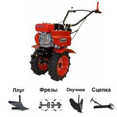 Мотоблок АВАНГАРД АМБ-1М10 с двигателем КАДВИ 6,5 л.с (колеса 4х10). В подарок: плуг, сцепка, распашник, фрезы