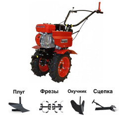 Мотоблок АВАНГАРД АМБ-1М11 с двигателем Lifan 170F 7,0 л.с. В подарок: плуг, сцепка, распашник, фрезы