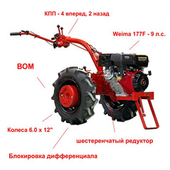 Мотоблок Беларус-09Н-02 с ВОМ, колесами 6.0 х 12 (высокий протектор) и двигателем Weima 177F 9 л.с. В подарок (Сцепка универсальная)