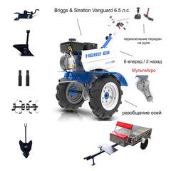 Мотоблок c Прицепом Нева МБ-2-B&S PRO МультиАГРО с двигателем Briggs & Stratton Vanguard 6.5 л.с. В комплекте: Фрезы, окучник, плуг, сцепка, удлинители осей