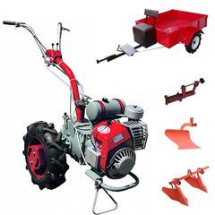 Мотоблок Мотор Сич МБ-6 с Прицепом, ВОМ,  колесами 6.0 х 12, дифференциалом, двигателем Д-250 5.5 л.с. В комплекте (грузы, зип, сцепка, плуг, прицеп, двойной окучник)
