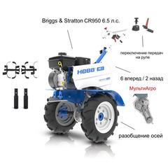 Мотоблок Нева МБ-2 МультиАГРО с двигателем Briggs & Stratton (CR950) 6.5 л.с. В комплекте: Фрезы, удлинители осей
