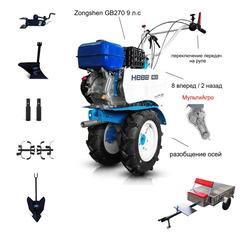 Мотоблок с Прицепом Нева МБ-23ZS МультиАгро с двигателем Zongshen GB270 9 л.с. В комплекте: В комплекте: Фрезы, окучник, плуг, сцепка, удлинители осей