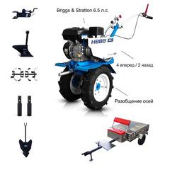 Мотоблок с Прицепом Нева МБ-2Б-6.5 (CR950) с двигателем Brigss & Stratton 6.5 л.с. В комплекте: Фрезы, окучник, плуг, сцепка, удлинители осей