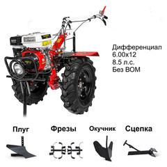 Мотоблок Shtenli 1030 с двигателем 8.5 л.с., колеса 7x12, дифференциал, без ВОМ. В подарок (плуг, сцепка, распашник, фрезы)