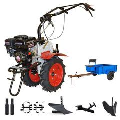 Мотоблок Угра НМБ-1Н17 с прицепом, ВОМ, прониженной передачей и двигателем Lifan 170F 7.0 л.с. В комплекте (плуг, фрезы, сцепка, распашник)